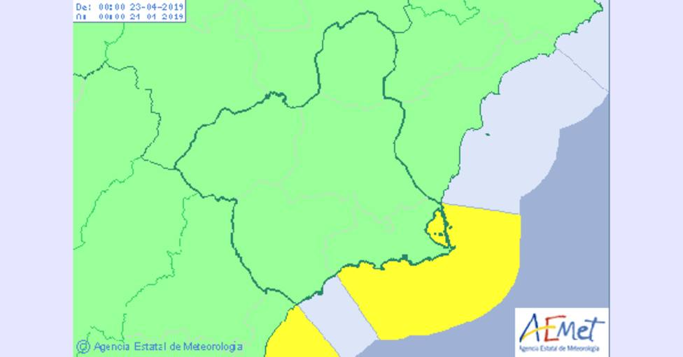 AEMET activa el aviso amarillo por fenómenos costeros el martes en el litoral de Cartagena y Mazarrón