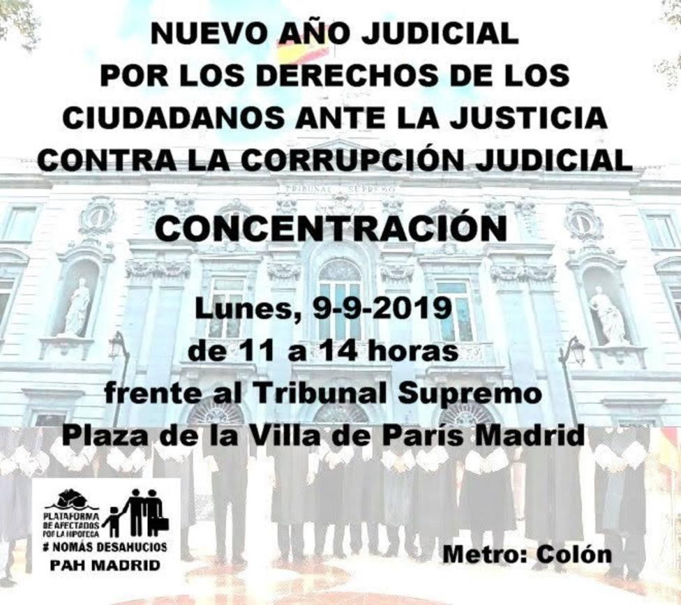 PAH Madrid se concentrará hoy frente al Tribunal Supremo para defender sus derechos ante ejecuciones hipotecarias