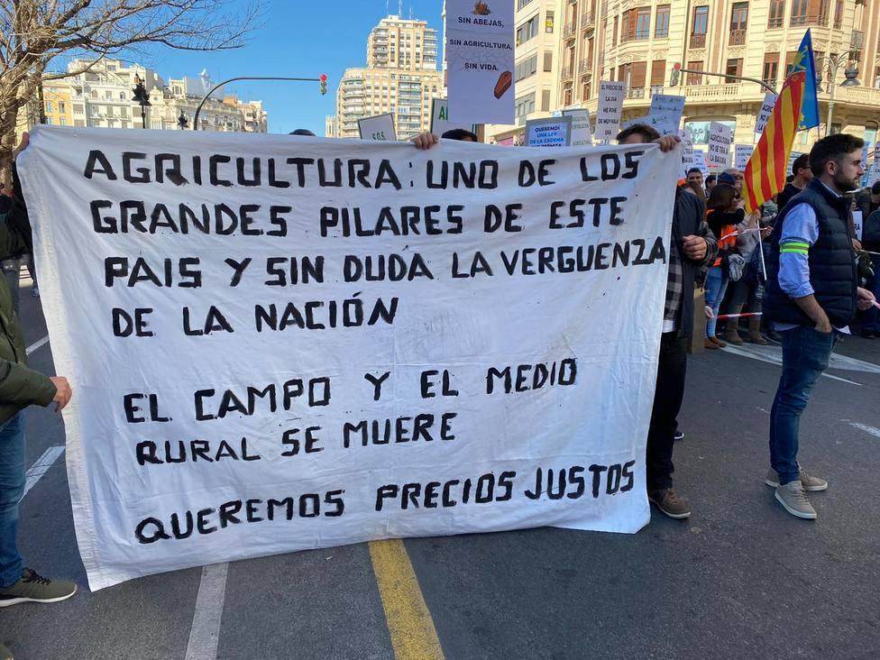 Protesta agrícola en Valencia