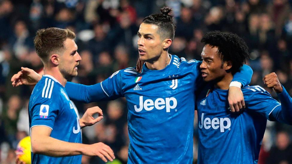 Cristiano Ronaldo celebra el gol marcado al Spal de Ferrara. EFE