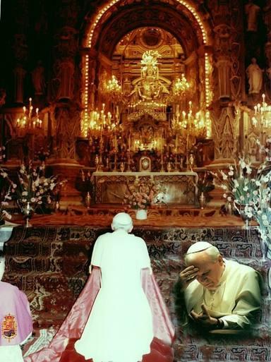Pope Saint John Paul II prays before the Virgin of Sorrows, patron saint of Granada