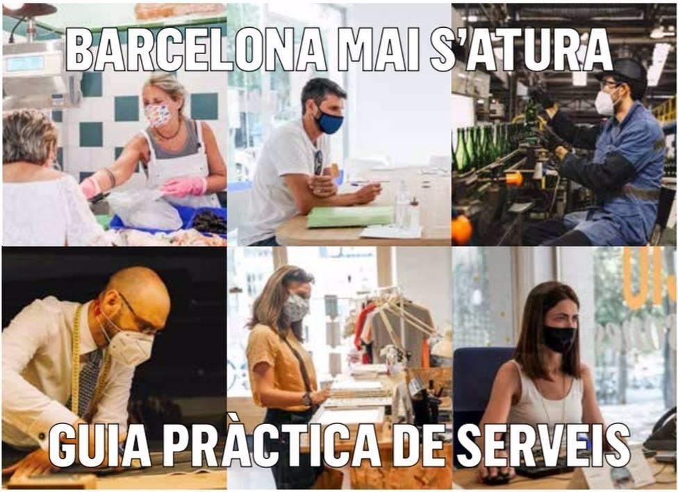 El área de Economía, Trabajo, Competitividad y Hacienda del Ayuntamiento de Barcelona ha editado la guía Barcelona nunca se detiene. Guía práctica de servicios.