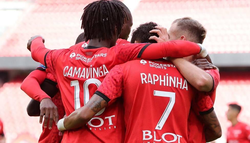 Momento del partido entre el Stade de Rennes y el Stade de Reims
