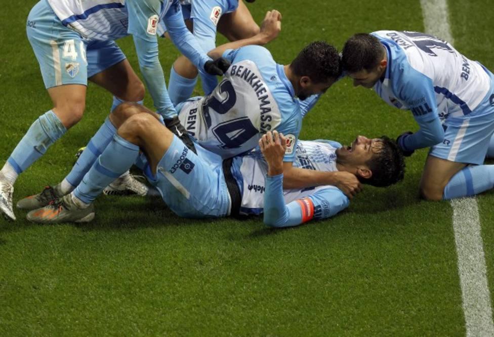 Enorme celebración malaguista cuando el partido ya iba a los penaltis.