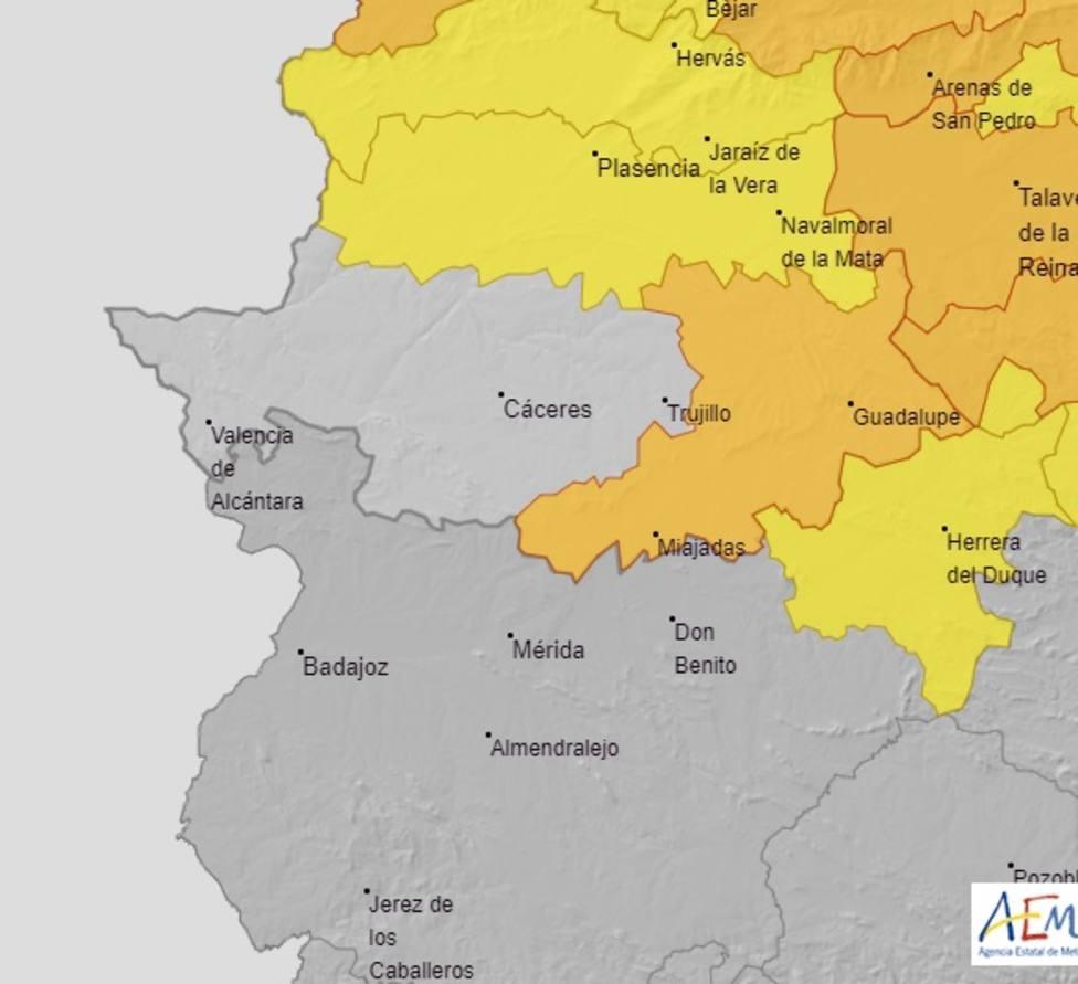 Avisos activos por nevadas para este sábado en Extremadura. Fuente: AEMET