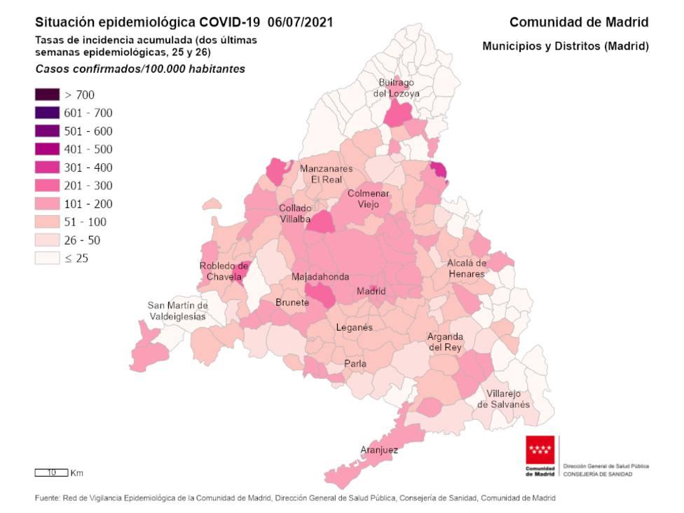 Tasa de incidencia acumulada por COVID 19 en Madrid a 6 de julio