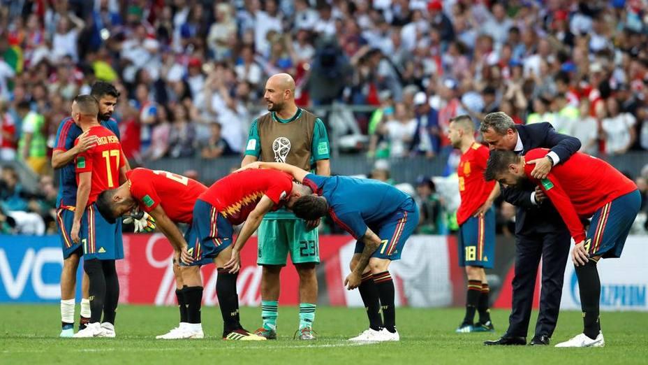 Selección española en el partido que perdió