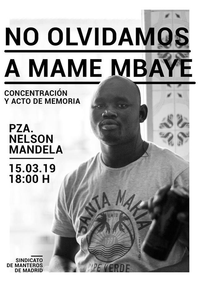 El Sindicato de Manteros convoca hoy una concentración en recuerdo de Mame Mbaye un año después de su muerte