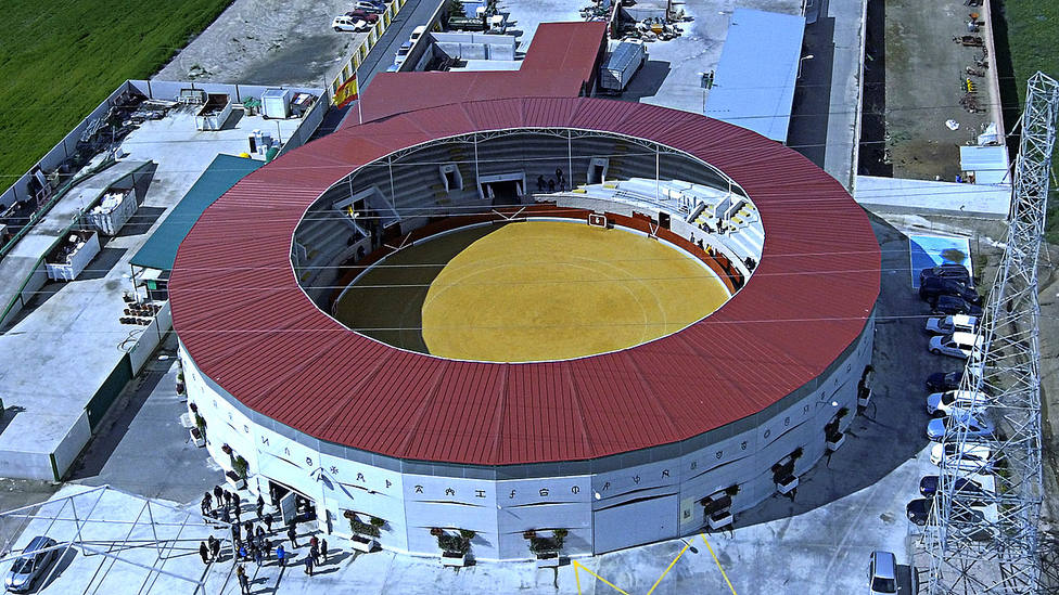 Vista aérea de la plaza de toros La Sagra de la localidad toledana de Villaseca de la Sagra