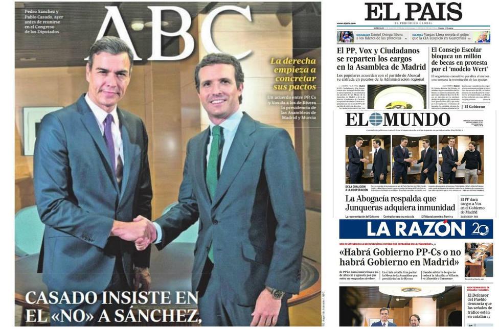 El no es no de Casado a Sánchez y nuevas filtraciones del Caso Oikos, portadas en la prensa