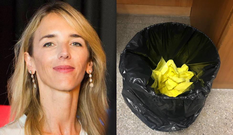 Cayetana Álvarez de Toledo arranca los lazos amarillos de TV3 antes de participar en un debate