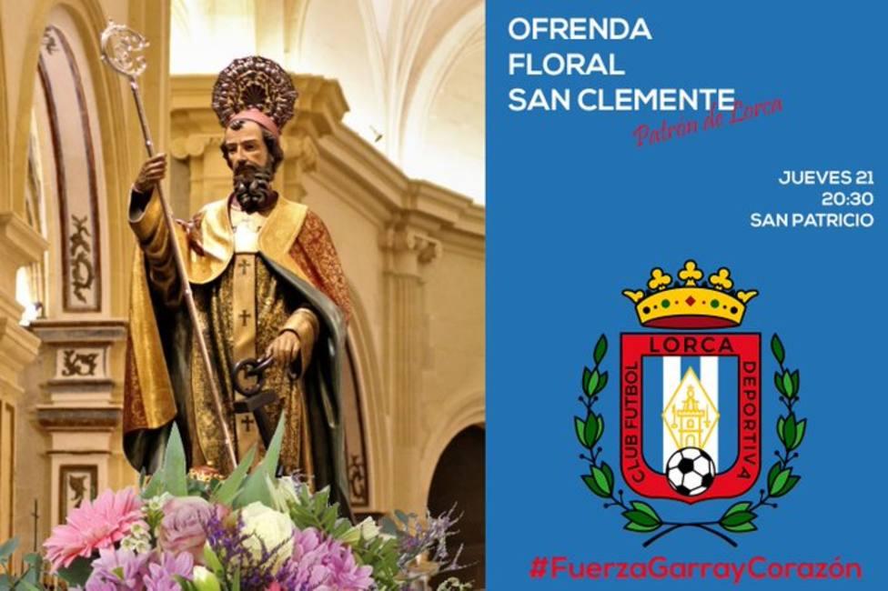 El CF Lorca Deportiva realizará una ofrenda floral al patrón de Lorca, San Clemente