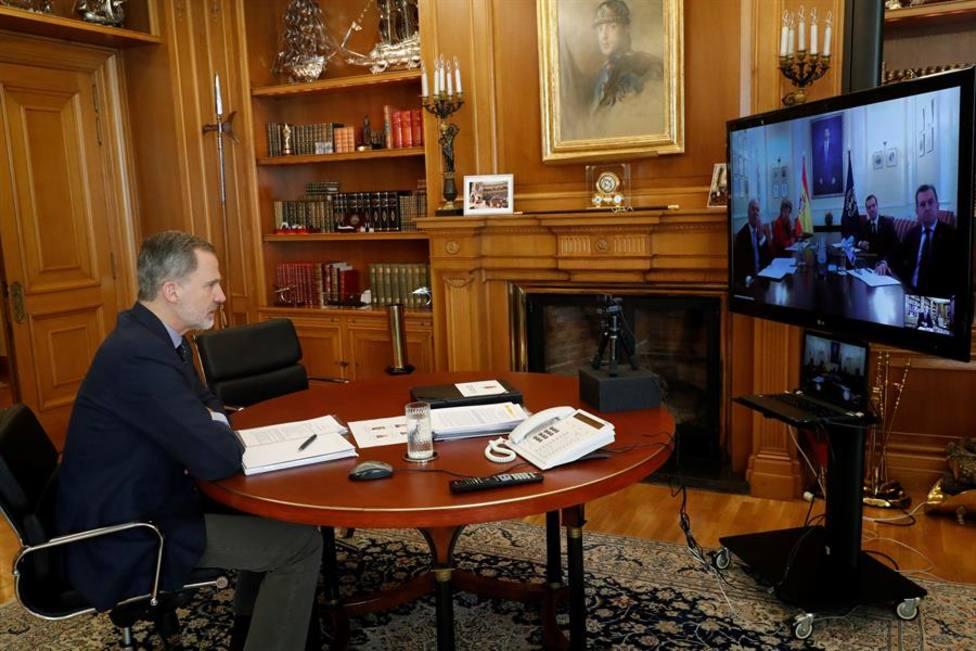El Rey durante una de las videoconferencias que esta manteniendo durante la pandemia por coronavirus