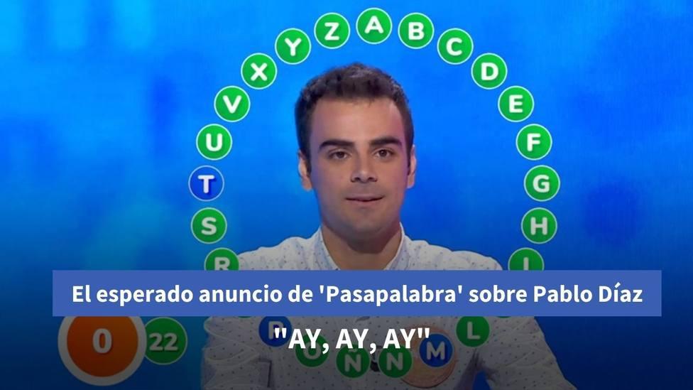 """El esperado anuncio de 'Pasapalabra' sobre Pablo Díaz: """"Ay, ay, ay"""""""