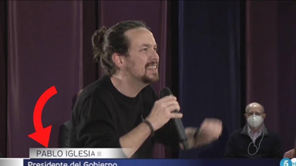 Informativos Telecinco la lía con Pablo Iglesias y las redes arden: lo pone en el rótulo