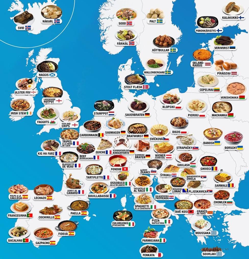 Este es el mapa con los platos típicos de cada país y región de todo el mundo