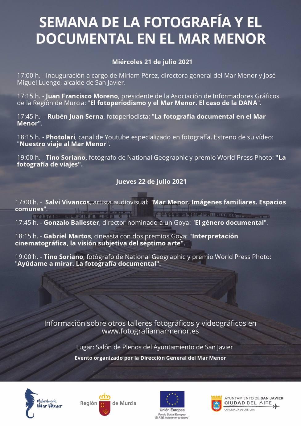 La Semana de la Fotografía y el Documental en el Mar Menor que organiza la Comunidad se celebra en San Javier