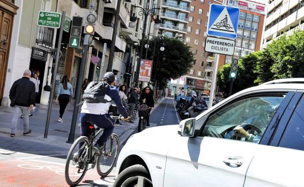 Carril bici de la calle Colón