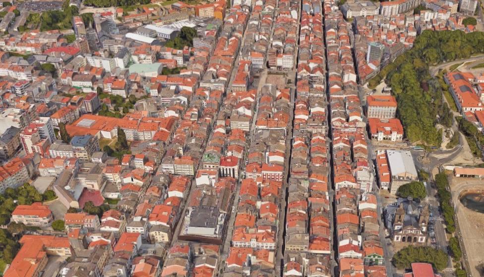 Vista aérea del barrio de A Magdalena