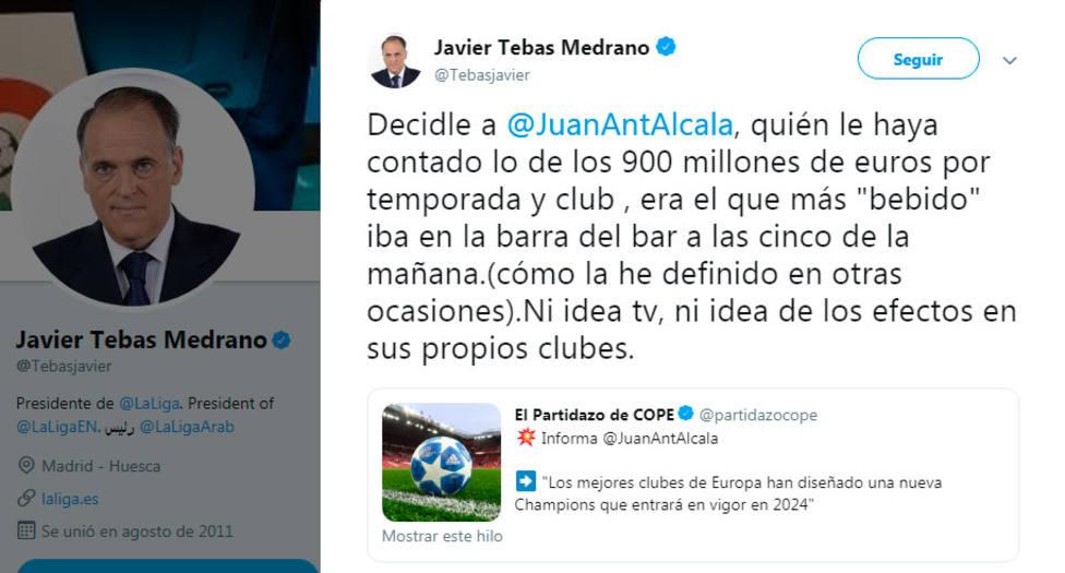 Javier Tebas responde a la noticia de Alcalá sobre la nueva Champions