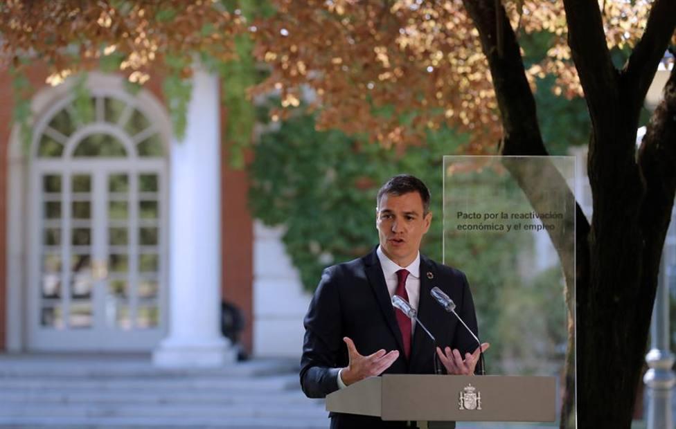 El presidente del Gobierno, Pedro Sánchez durante acuerdo con los agentes sociales