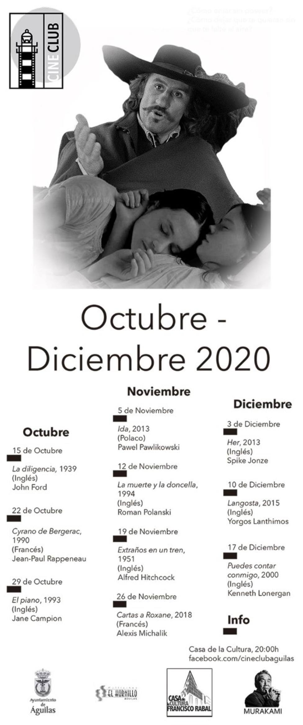El próximo 15 de octubre comienza un nuevo ciclo del Cineclub Águilas