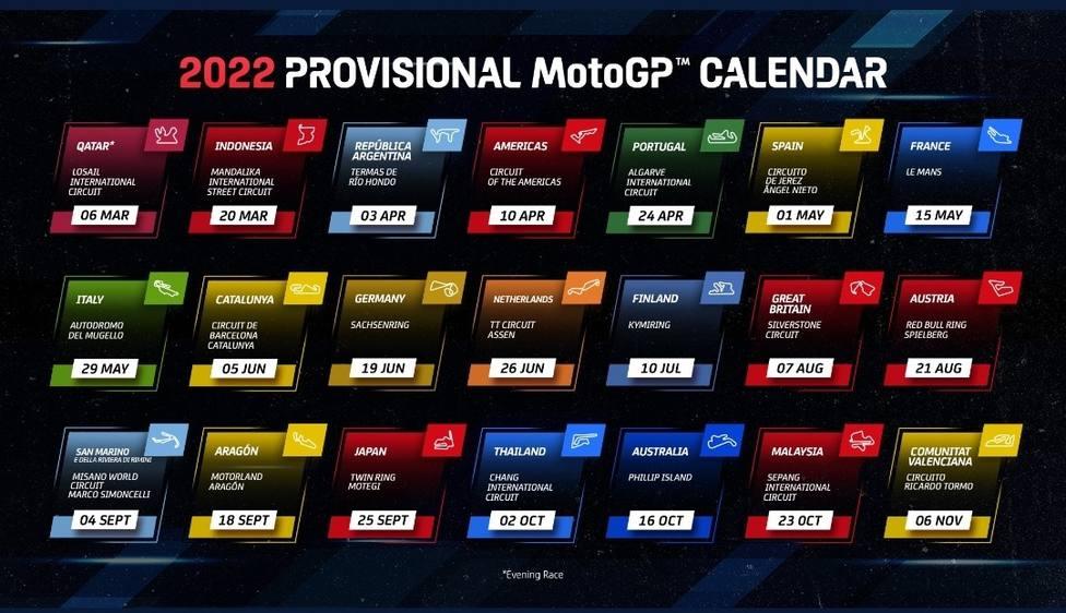 El 2022 se presenta con 21 citas en MotoGP