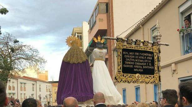 Imagen del traslado de Jesús Cautivo el pasado domingo en Málaga. @Banda_Trinidad