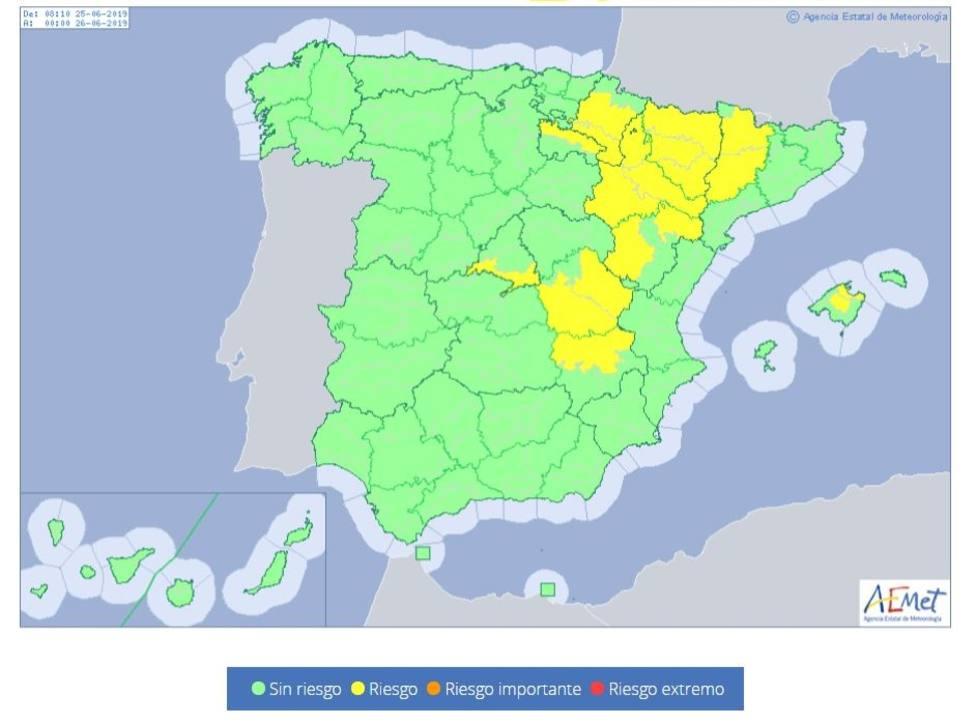 Una decena de provincias tendrán mañana riesgo por temperaturas de 36ºC y de hasta 38ºC en Aragón y Cataluña