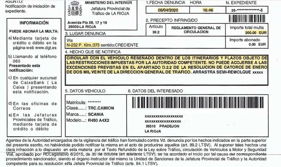 CETM La Rioja lamenta el aluvión de denuncias recibidas por circular por la N-232 durante el confinamiento