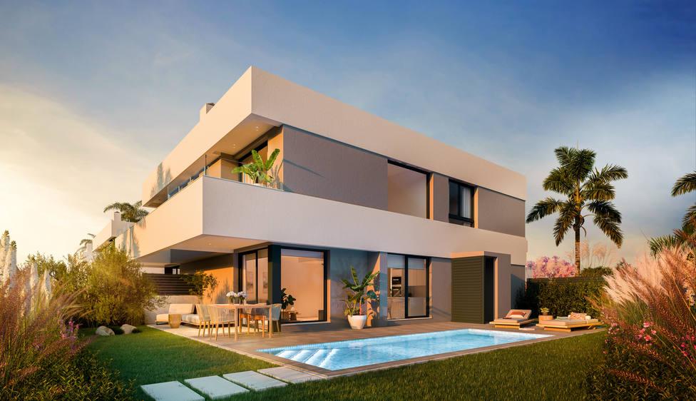 Así serán los chalets pareados de la promoción Amaire Villas I de AEDAS Homes en San Ju an de Alicante.