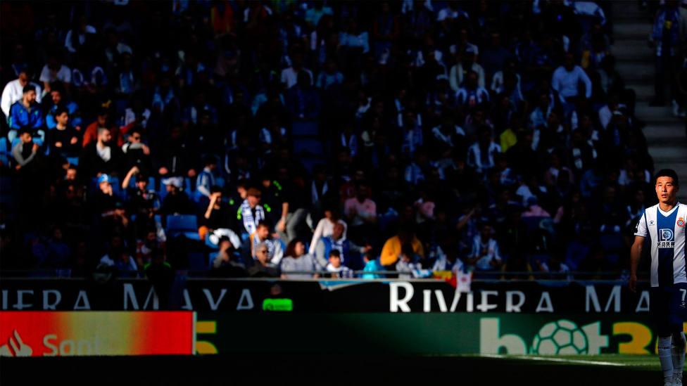 Grada del RCDE Stadium durante un partido de LaLiga Santander, de la temporada 2019-2020. CORDONPRESS