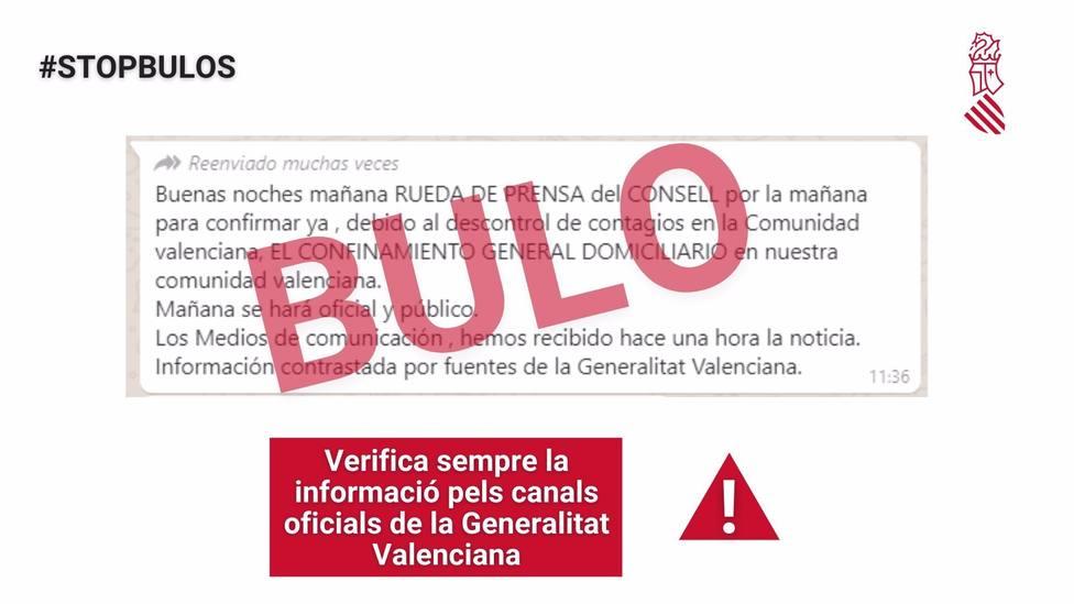 Cvirus.- La Generalitat alerta de un bulo sobre un confinamiento domiciliario de la Comunitat Valenciana