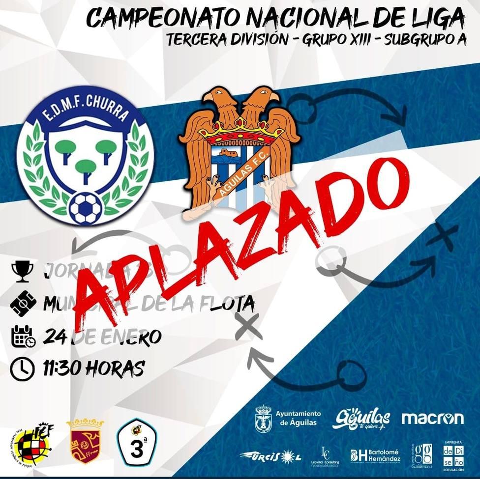 El Churra - Águilas FC aplazado por COVID19