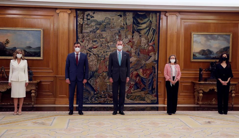 Calviño, Díaz y Belarra tras prometer sus cargos ante el Rey Felipe VI