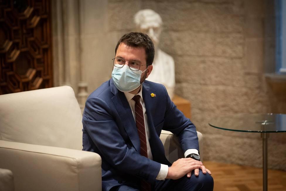 El president de la Generalitat, Pere Aragonès, durante una reunión en el Parlament