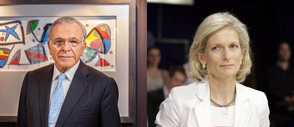 El presidente de la Fundación La Caixa, Isidre Fainé, y la editora de The Economist, Susan Zanny0 Minton