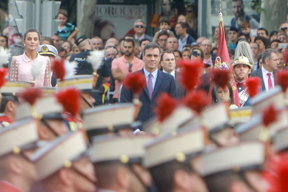 Pedro Sánchez a su llegada al Desfile