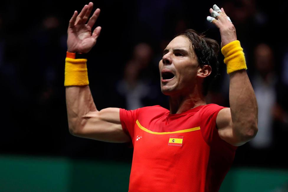 Rafa Nadal celebra la victoria ante Rusia (EFE)