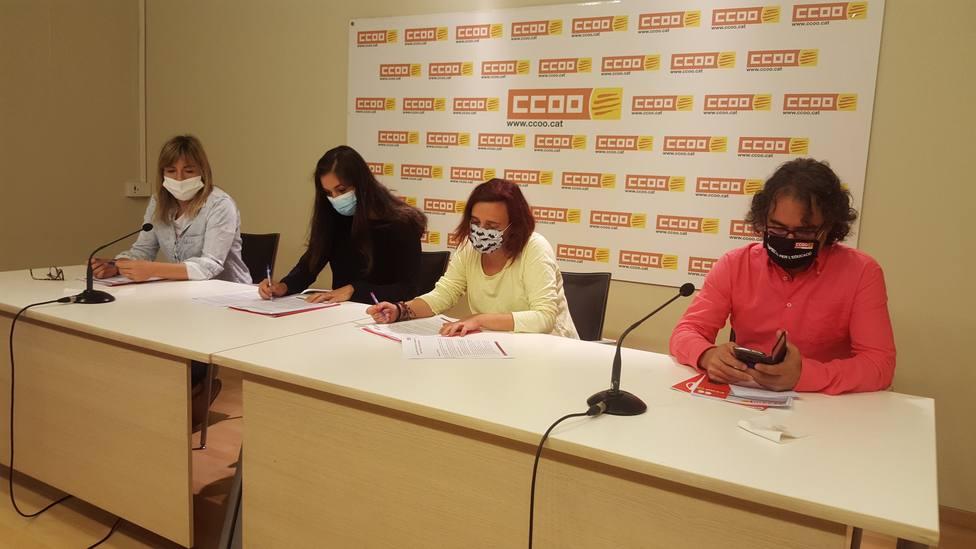 Ponentes de la rueda de prensa de la Federación de Educación de las CCOO de Catalunya || Twitter oficial CCOO