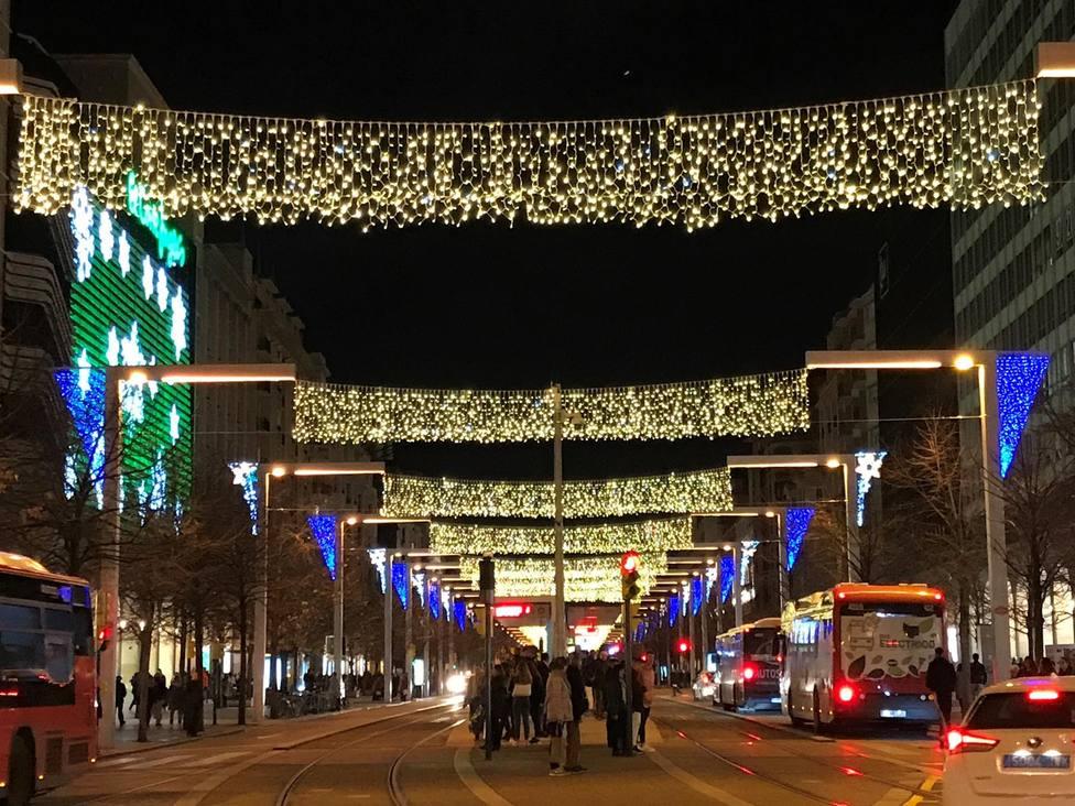 Luces de Navidad. Zaragoza. Paseo Independencia
