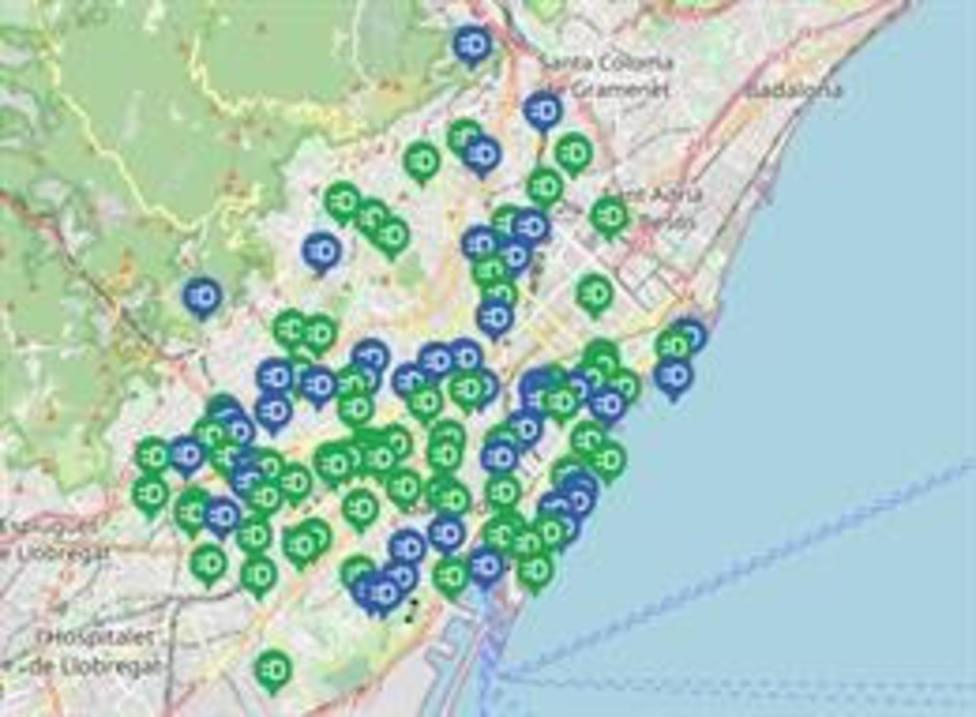 Mapa de los puntos de recarga de vehículos eléctricos de B:SM en Barcelona