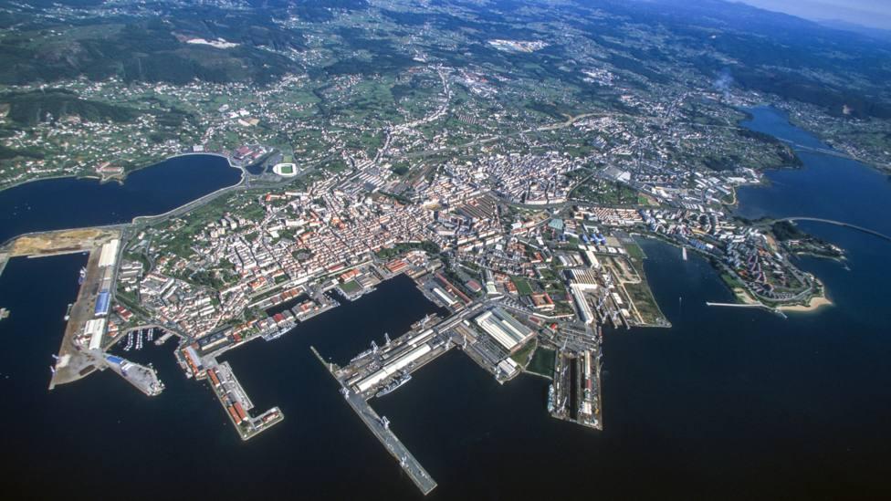 Vista aérea de Ferrol y de otras zonas de la comarca