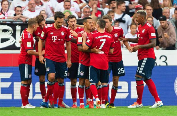 Los jugadores del Bayern celebrando uno de los goles