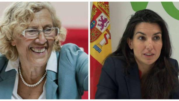 Manuela Carmena, alcaldesa de Madrid, y Rocío Monasterio (Vox Madrid)