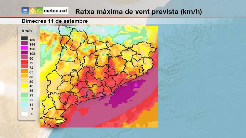 El temporal de viento irá a más mañana. Foto: Meteocat
