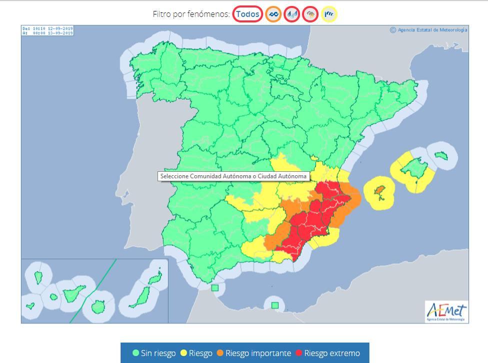 Meteorología mantiene sus avisos de nivel rojo por lluvias y tormentas para este jueves y el viernes