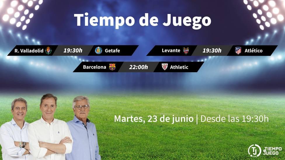 Sigue este martes desde las 19:30h. Tiempo de Juego con el Levante-Atlético y el Barcelona-Athletic