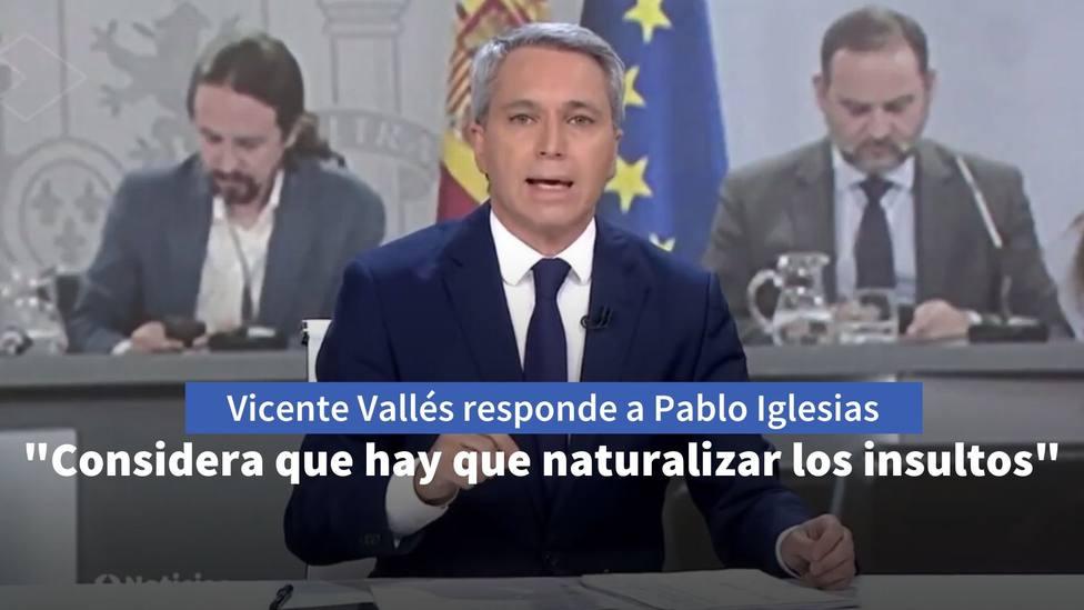 Vicente Vallés responde a Pablo Iglesias desenmascarándole: Considera que hay que naturalizar los insultos