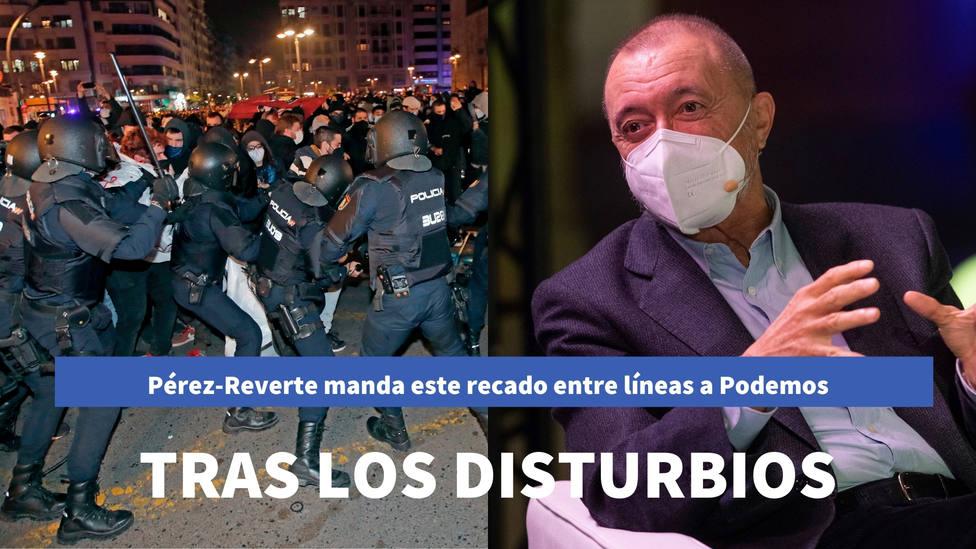 Pérez-Reverte manda este recado entre líneas a Podemos tras los disturbios por Hasél